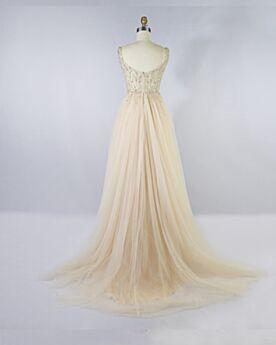 Elegante Empire Bruidsmeisjes Jurk Champagne Avondjurken Kralen Tule Galajurken A Lijn Open Rug