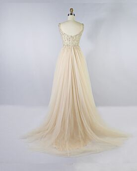 Prom Dresses Beaded Long Open Back Sleeveless Empire A Line Elegant