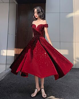 Burgundy Fit And Flare Prom Dresses Beautiful Evening Dresses Velvet Low Cut