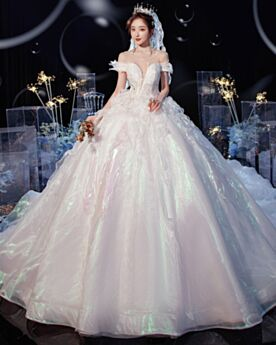 Short Sleeve Organza White Backless Off The Shoulder Wedding Dress Gorgeous