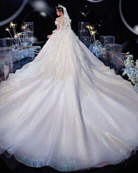 Vestidos De Boda Escotados Con Volantes Espalda Descubierta Hombros Caidos Manga Corta Princesa Elegantes Lujo Blancos