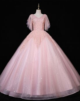 Quinceanera Kleider Pailletten Rüschen Rückenfreies Glitzernden Lange Prinzessin Herrlich Ballkleider Kurzarm Elegante Rosa