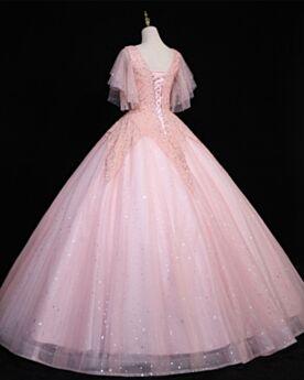 Sequin Robe Quinceanera Princesse Robe De Bal Manche Courte Belle Robe De Fête Luxe Dos Nu Longue Rose Poudré