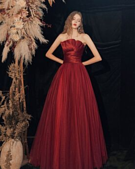 イブニングドレス ロング チュール エレガント お呼ばれ ドレス ブライズ メイド ドレス シンプル な ノースリーブ ワイン レッド オフショルダー 2821270836