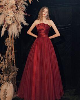 Long Satin Burgundy Tulle Strapless Wedding Party Dress Bridesmaid Dress Princess Evening Dress Open Back Sleeveless Beautiful