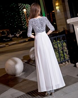 Fit And Flare Cocktail Dresses Semi Formal Dress Sequin Empire For Teens Ankle Length Graduation Dresses Chiffon Simple Sparkly
