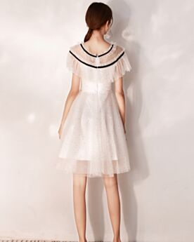 Semi Formal Dress Graduation Dress Bohemian Fit And Flare Knee Length Ivory Cocktail Party Dress Cute Ruffle Sequin