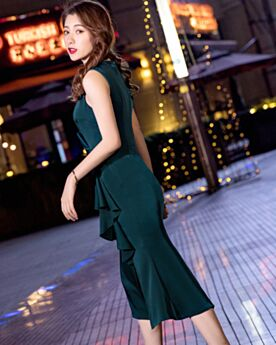 Tea Length Sheath Dark Green Sleeveless Dress For Wedding Guest Split Front Peplum 2019 Ruffle