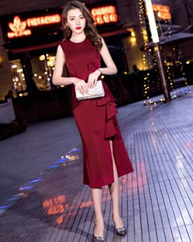 Sheath Tea Length Ruffle Burgundy Beautiful Semi Formal Party Dress