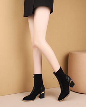 Mid Heel Leather Black Suede Thick Heel Boots Comfort Booties