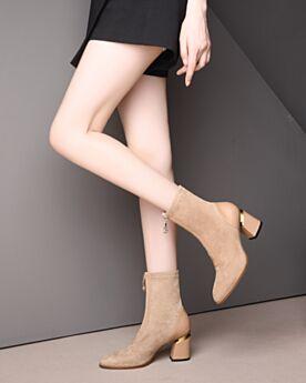 Beige Round Toe Mid Heel Thick Heel Leather Boots Comfort Booties