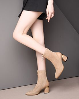 Runde Zeh Damenschuhe Sock Boots Wildleder Mit 7 cm Absatz Ankle Boots Chunky Heel