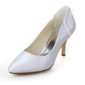 8 cm Talons Hauts À Volants Chaussure Mariage Bout Pointu Élégant Blanche Talons Aiguilles Satin Escarpins Femmes