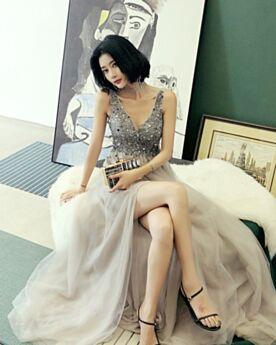 Rückenausschnitt Tiefer Ausschnitt Tüll Ballkleid Abendkleid Lange Schöne Glitzernden