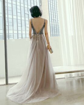 Sequin Cute Sparkly Backless Low Cut Formal Dresses Sleeveless A Line Long Prom Dresses Gray Slit Dress For Special Occasion