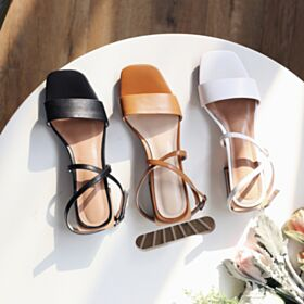 Ankle Strap Black Kitten Heel Sandals Strappy
