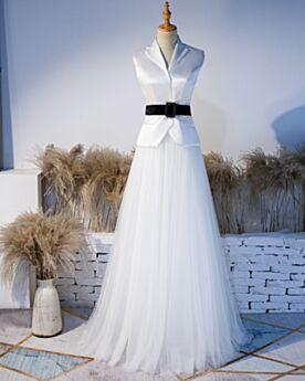 Blanco Con Cinturon 2019 Vestidos Semi Formales Largos Dos Piezas Sin Manga Elegantes