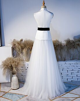 Verlovingsjurken Mouwloze Lange Elegante 2 Stukken Witte