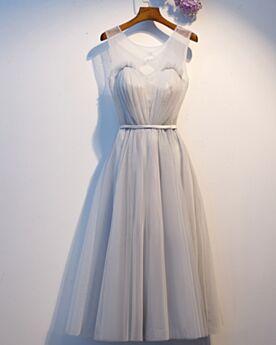 Fit N Flare Brautjungfernkleider Kurze Schlichte Kleider Für Festliche Grau Cocktailkleid