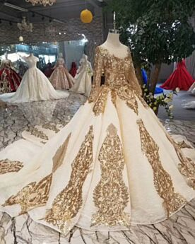 Luxury Ball Gowns Bridals Wedding Dress Sequin Gold Scoop Neck Sparkly Long Sleeves