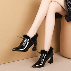 Office Shoes Pointed Toe Black Cone Heel Boots Ankle Boots Mid Heels Winter Leather