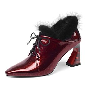Spitz Zeh Stiefeletten Business Schuhe Fallen Chunky Heel