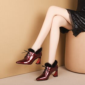 7 cm Heel Patent Winter Plush Ankle Boots Work Shoes Fur Lined Leather Pointed Toe Lace Up Womens Boot Burgundy