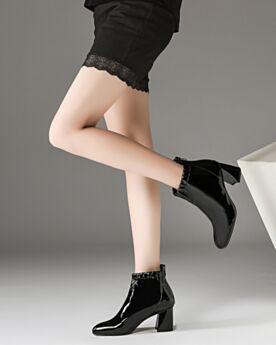 6 cm Heel Blokhakken Zwart Leren Enkellaarsjes Ronde Neus Chelsea