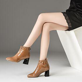 6 cm Heels Bruine Blokhakken Comfort Enkellaarsjes