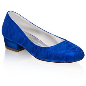 Thick Heel Round Toe Pumps Lace Wedding Shoes Blue 1 inch Kitten Heels Elegant