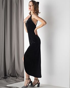 Sexy Long Backless Black Velvet Simple Cocktail Dress Long Plunge Princess