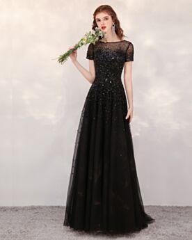 A ライン スパンコール キラキラ プロムドレス ロング イブニングドレス 二次会 パーティー ドレス 成人式 ゴージャス ブラック 3021310345