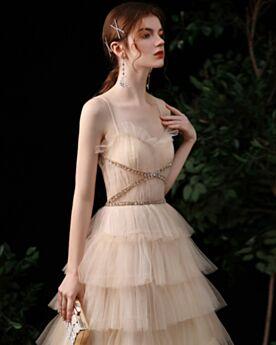Ruffle Backless Cute Tulle Long Empire Spaghetti Strap Princess Prom Dress Evening Dresses
