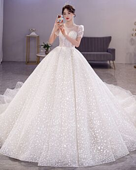 Elegantes Brillantes Transparentes Con Tul Vestidos De Novia Con Manga Corta Lentejuelas Sin Espalda Purpurina
