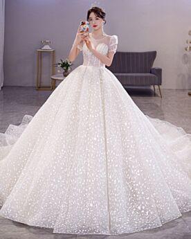 Principessa Glitter Trasparenti Lungo Con Paillettes Avorio In Tulle Abiti Da Sposa