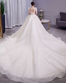 Short Sleeve Ball Gown Bridal Gown Glitter Backless Long Sparkly Sequin Tulle Beautiful With Train See Through
