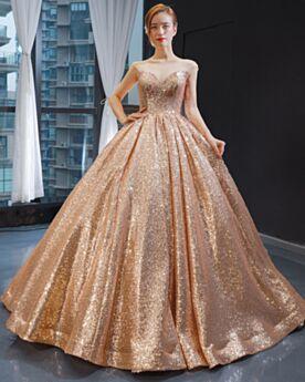 Bellissimi Scollo Profondo Vestiti Da Cerimonia Oro Rosa Luccicante Lunghi