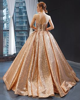 Ball Gowns Quinceanera Dresses Sequin Sparkly Low Cut Rose Gold Prom Dresses Sleeveless Backless