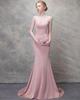 Rose Poudré Fourreau D été Sirène Robe De Soirée Peplum Dos Nu Longue Transparente