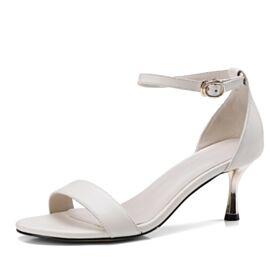 6 cm Soie Blanche Talon Aiguille Bride Cheville A Bride Sandale Talon Mid