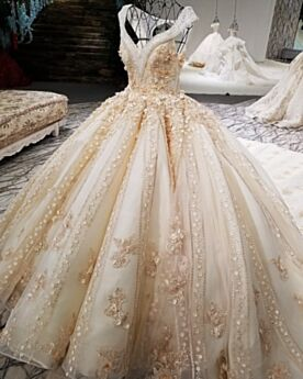 Sleeveless Champagne Rhinestones Beaded Ball Gown Lace Tulle Bridal Gowns
