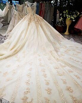 Beige Robe De Mariée Sans Manches Dos Nu Strass Longue Dentelle Luxe Tulle