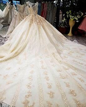 Principessa Lungo Abiti Da Sposa In Tulle Eleganti In Pizzo Champagne