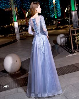 Lace Juniors Fit And Flare See Through Long Sleeve Evening Dresses Sky Blue Long Elegant