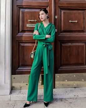 Jumpsuits Shift Long Sleeve Chiffon Modest Work Office Wrap Going Out Emerald Green