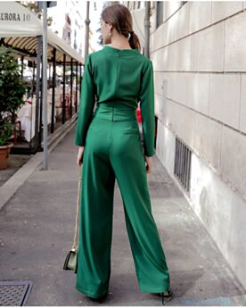 Schleife Lange Ärmel Modest Business Gerade Smaragdgrün 2019 Casual Kleid Maxi Jumpsuit Wickel