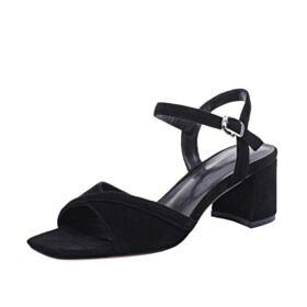 Leren Suede Sandalen Enkelband Zwart 5 cm Heel