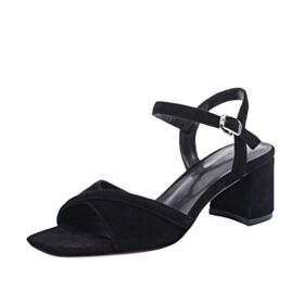 Sandals 2 inch Kitten Heels Thick Heel Ankle Strap Fashion Suede Leather Black