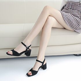 Sandali Eleganti Con Tacco Largo Cinturino Alla Caviglia Tacco Medio 5 cm Estivi In Pelle Casual Camoscio Nere