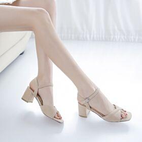 Leather Sandals 5 cm Kitten Heels Chunky Heel Nude 2019 Suede